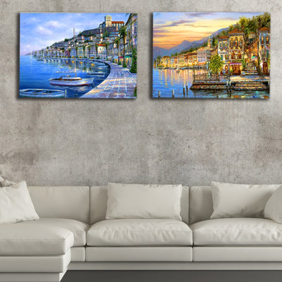 Beach Seaside Oil Painting With Streetlights LED Light Up Edition Canvas