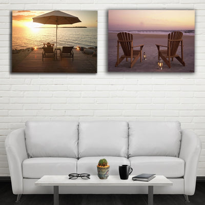 Chilling With Lanterns At Beach LED Light Up Edition Canvas