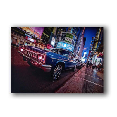 New York At Night Outside Motel LED Light Up Edition Canvas