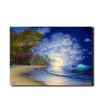 Beautiful Tree House Fantasy Fairy Beach LED Light Up Edition Canvas