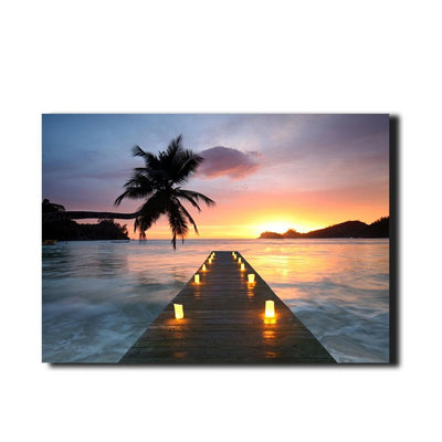Jetty Beach Sunset With Candles LED Light Up Edition Canvas