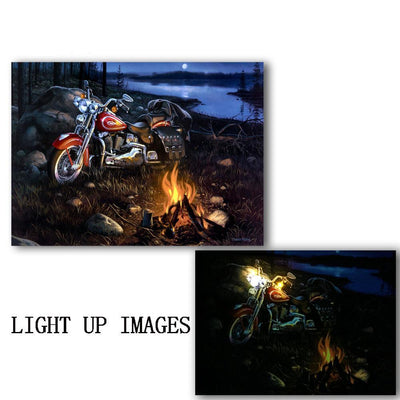 Motorcycle Art With Fires & Lake LED Light Up Edition Canvas