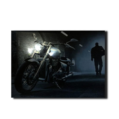 Motorcycle On Road At Night LED Light Up Edition Canvas