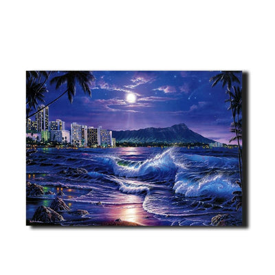Sea Waves Moon oil painting LED Light Up Edition Canvas