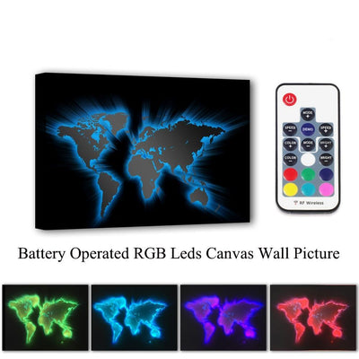 3D World Map LED & Remote