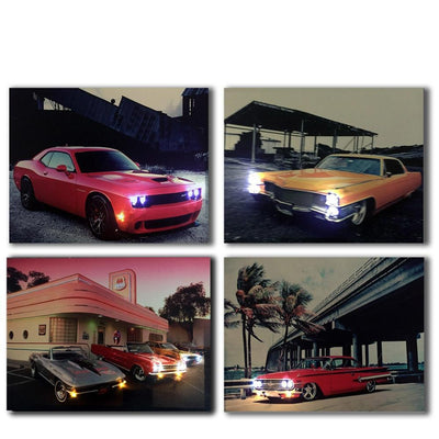 Retro & Vintage Cars LED Light Up Edition Canvas