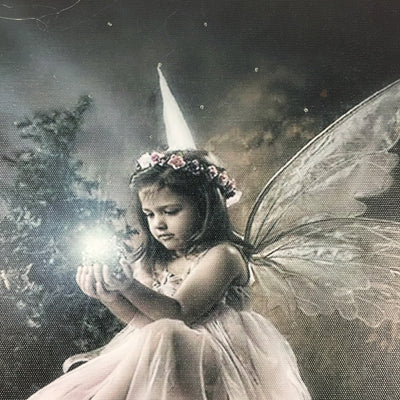 FAIRY WITH WINGS HOLDS MAGICAL LAMP LED LIGHT UP EDITION CANVAS
