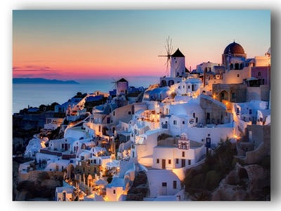 Santorini Island Sunset With Boat Harbour LED Light Up Edition Canvas
