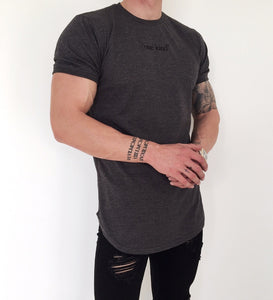 Curved hem T-shirt- dark heather
