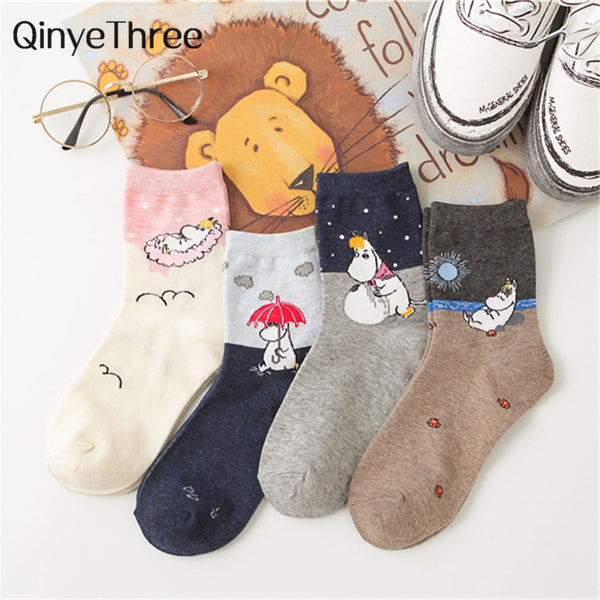 New Cute Cartoon Lively Lovely Hippo Socks Funny Literary Art Illustration hippopotamus Animal Socks Unisex Christmas Gift