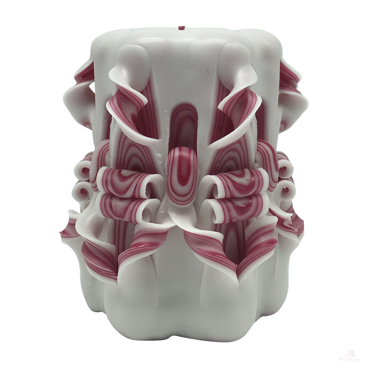 Raspberry Ripple Handcarved Candle-Hand Carved Pillar Candle-Aunt Momo's Handcrafted Candles