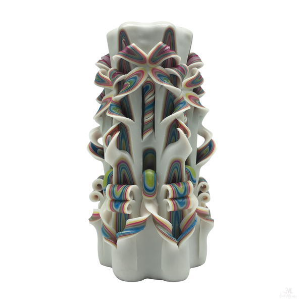 White Rainbow Handcarved Candle-Hand Carved Pillar Candle-Aunt Momo's Handcrafted Candles