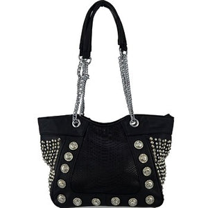 Rhinestone Studded Fashion Tote Bag