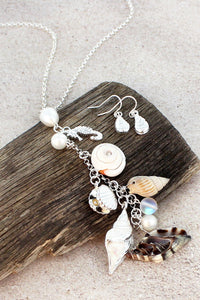 Seashell Drop Charm Pendant Necklace And Earring Set