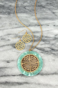 Greek Key Disk Necklace And Earring Set