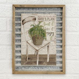 GODS PLAN' CHAIR W/SUCCULENT METAL WALL PLAQUE