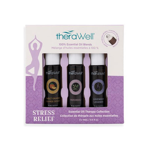 3-Pack Essential Oil Rollerball Set - Stress Relief