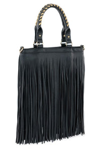 Faux Leather Fringe Handbag