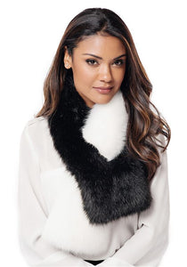 Two-Faced Black & White Faux Fur Pull-Through Scarf