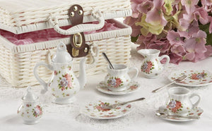 Porcelain Tea Set/Basket, Dainty Sue