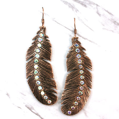 Antique Metal Feather With Rhinestones Earrings