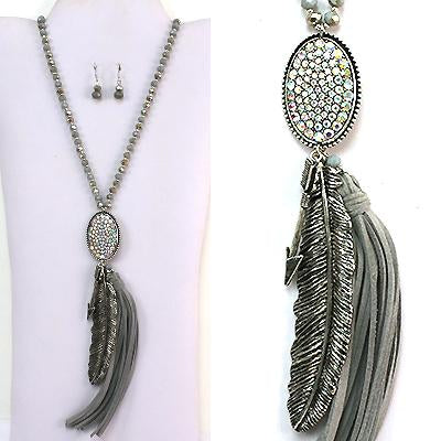 Antique Metal Feather With Tassel Deco Necklace Set