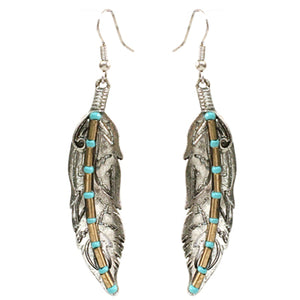 Feather Earrings with Turquoise Beads