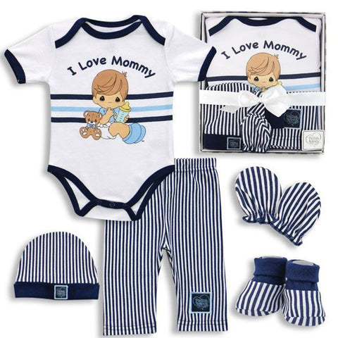 5-Piece Precious Moments Baby Boy Box Set - I Love Mommy