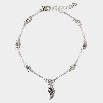 Crystal Station Anklet With Metal Wing Charm