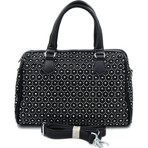 Rhinestone Studded Bling Bling Boston Bag - Black
