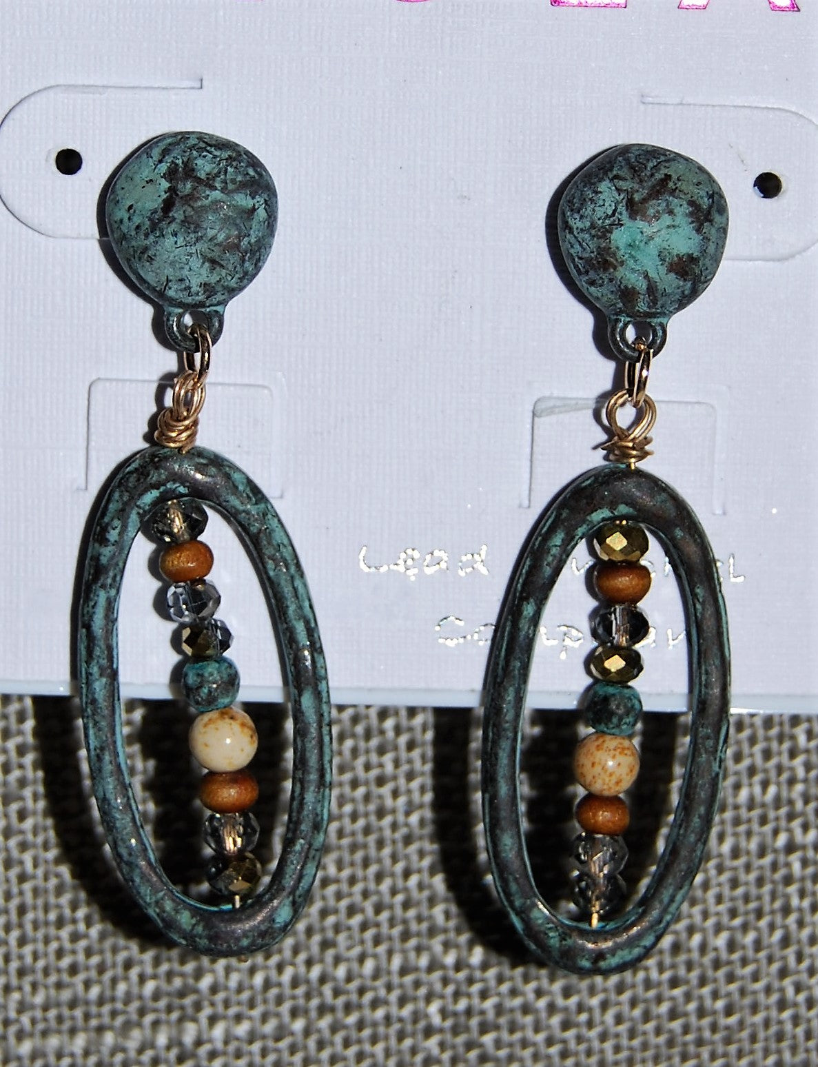 Patina And Seed Bead Oval Post Earrings