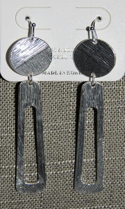 Brushed Silvertone Disk And Elongated Loop Earrings