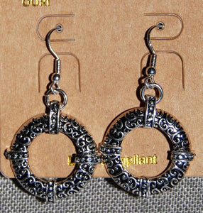 Silvertone Scroll With Dot Texture Hoop Earrings