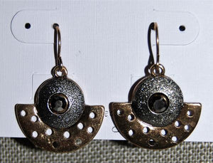 Burnished Two-Tone Half Moon Earrings