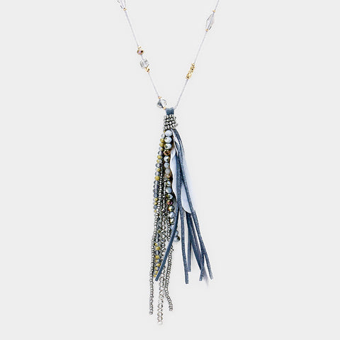 Feather Suede Beaded Multi Tassel Long Necklace