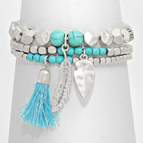 Multi-Layered Tassel, Feather Drop Stretch Bracelet