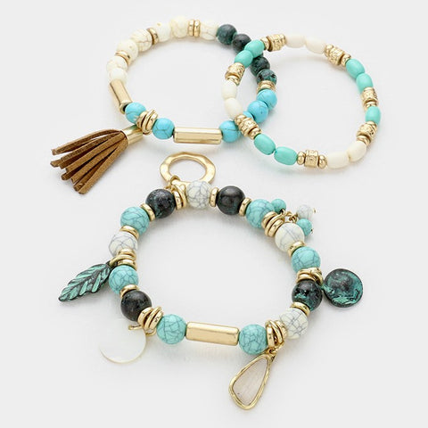 Tassel And Mother Of Pearl Charm Turquoise Bead Strand Stretch Bracelets