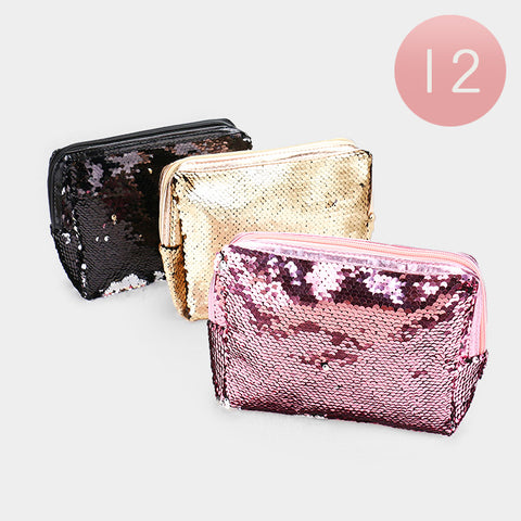 Reversible Sequin Pouch Bags