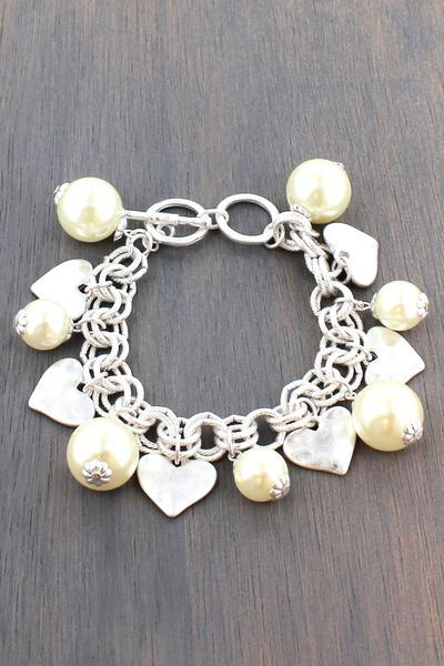 Worn Silver Tone Heart And Pearl Charm Toggle Bracelet