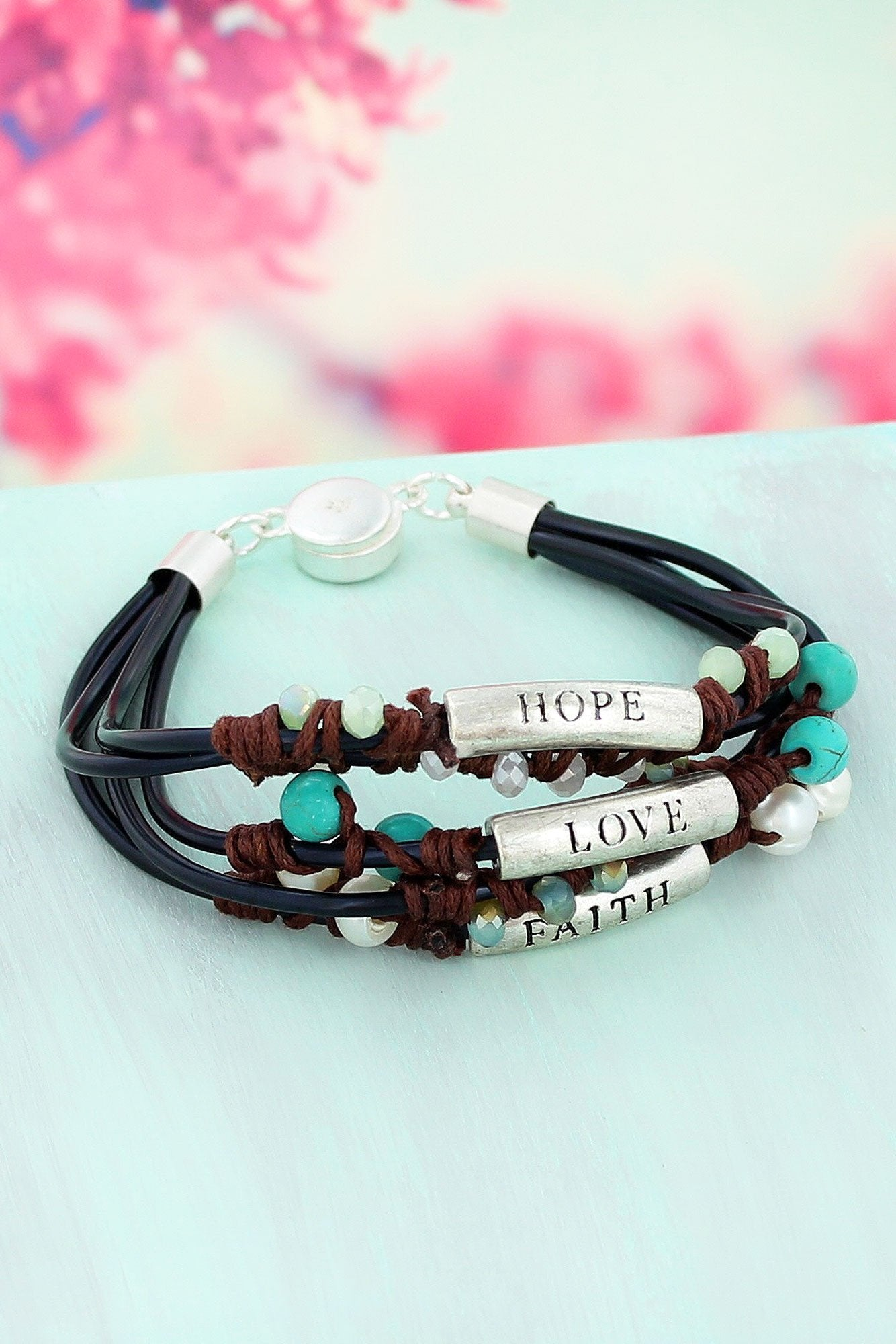 Worn Silver Tone 'Faith, Hope, Love' Black Multi-Cord Magnetic Bracelet