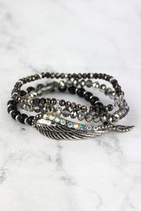 Iridescent Crystal Accented Silvertone Wing Beaded Bracelet Set
