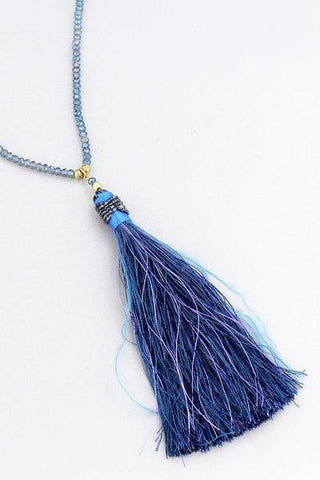 Thread And Feather Tassel Pendant Beaded Necklace