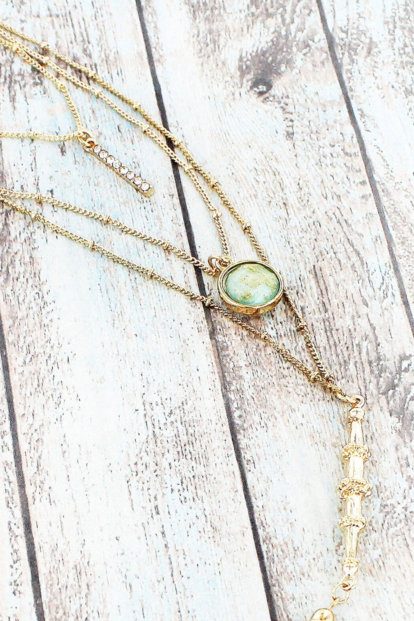 Goldtone Chain Tassel And Light Blue Gemstone Layered Necklace