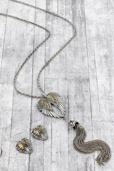 Two-Tone Wings And Tassel Pendant Necklace And Earring Set