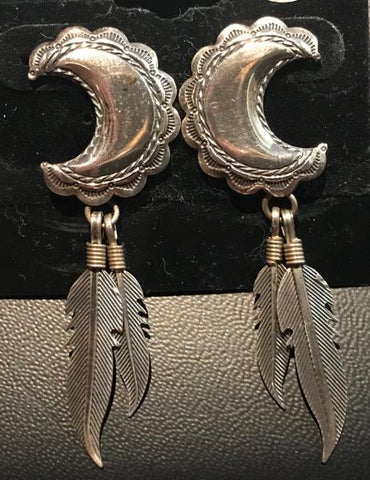Moon And Feather Earrings