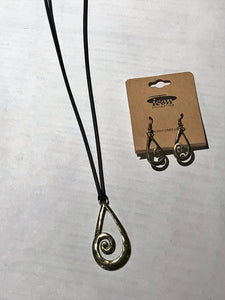 Burnished Brasstone Rustic Swirl Teardrop Cord Necklace And Earrings