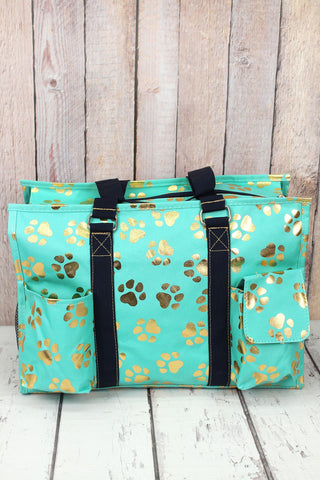 Ngil Metallic Gold Puppy Prints Mint Large Organizer Tote