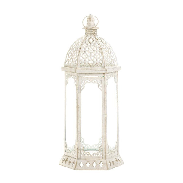 Graceful Distressed White Lantern (Large)/ Floral arrangement attached