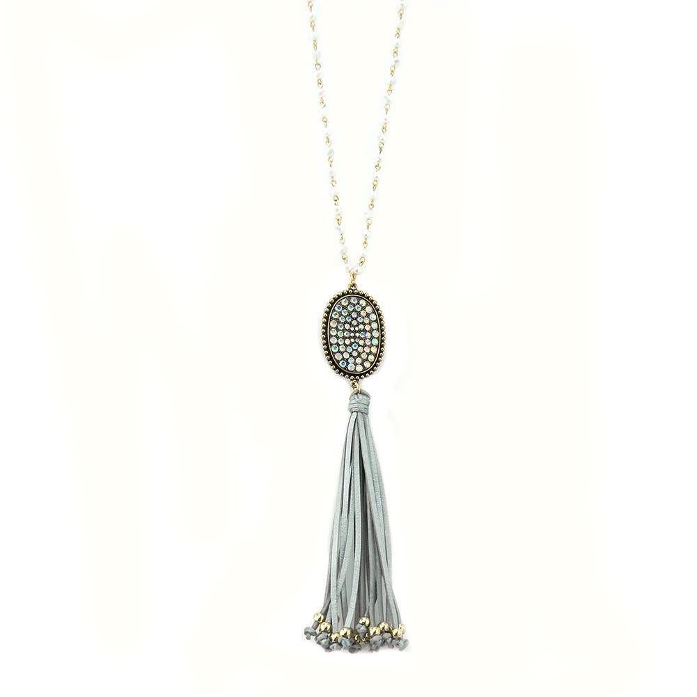 Linked Crystal Chain - Crystal Plate, Tassel Necklace