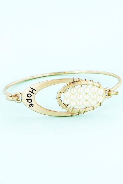 Worn Gold Tone With Pearl Beads 'Hope' Oval Bracelet